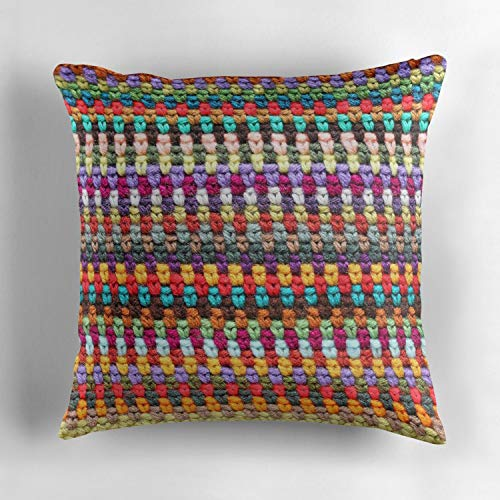 Jidmerrnm Crochet Afghan Pattern Decorative Cotton Sofa Home Decor Cartoon Dachshund Dog Design Throw Pillow Case Cushion Cover Square 18x18 Inch