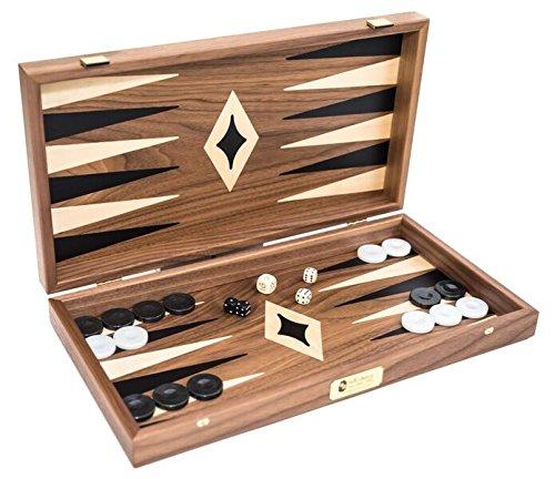 Bello Games New York, Inc. Oceanus Deluxe Walnut Backgammon Set from Greece 18 (Checker Set Walnut Game Box)