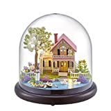Flever Dollhouse Miniature DIY House Kit Creative Room With Furniture and Glass Cover for Romantic Artwork Gift(Spring Florid)