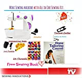 ZDELHI Portable & Desktop Multifunctional Sewing Machine Mini With Home Tailoring Book & 19+ Accessories With Foot Pedal Bobbin & Adapter