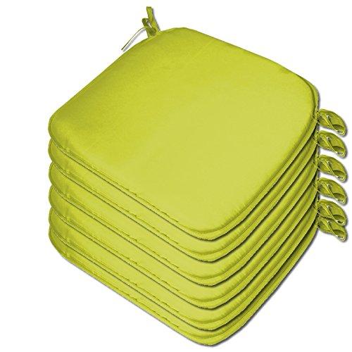 Beautissu 6 x Padded Seat Cushions - Plain Design 38x38x2cm - The Turin Range - Colour Lime Green