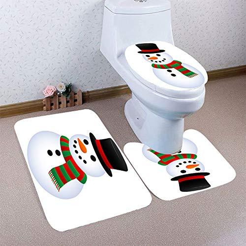 Christmas Best Decoration!!!Kacowpper 3PCS Christmas Bathroom Non-Slip Pedestal Rug + Lid Toilet Cover + Bath Mat Set -