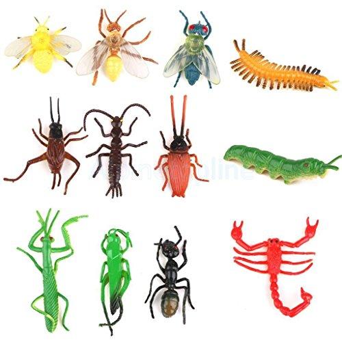 [Shalleen Lot 12pcs Plastic Vivid Insect Model Figure Toys Bug Mantis Scorpion Ant Bee] (Miniture Top Hats)