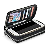 XeYOU Women 6.5inch Multi-function Zipper Leather Wallet Case with Card and Money Slots for IPhone 7 SE 5s 6s 6 Plus and Samsung Galaxy S4 S5 S6 S7 (Black)