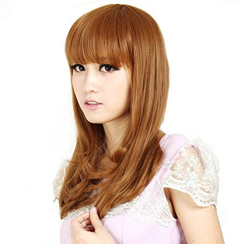 COOLSKY Fashion Long Bang Light Brown Fluffy Woman Wig 100% real Human Hair Replacement by COOLSKY