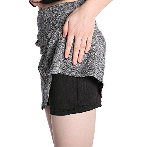 EAST HONG Women's Golf Skirt Tennis Ice Skating Running Fitness Skorts (L, Gray/Black)