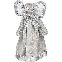 "Bearington Baby Lil' Spout Snuggler, Gray Elephant Plush Stuffed Animal Security Blanket, Lovey 15"""