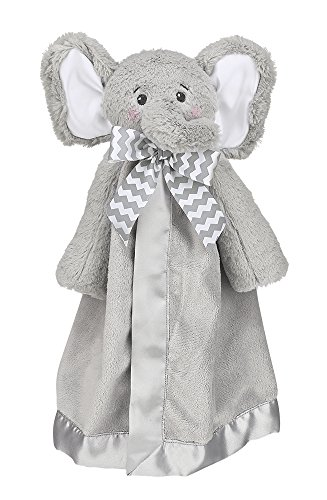 Bearington Baby Lil' Spout Snuggler, Gray Elephant Plush Stuffed Animal Security Blanket, Lovey 15