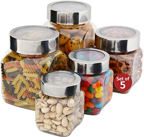 Plastic Storage Jars With Lids; Milton Food Storage Containers 5 Multi Size Set Clear Square Lightweight PET Canisters;Wide-Mouth, Airtight Lids Caps; Large Big And Small Empty Jars 5-Pack BPA Free