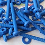 20 x Blue Philips Pan Head Screws Polypropylene (PP) Plastic Nuts and Bolts, Washers, M4 x 40mm, Acrylic, Water Resistant, Anti-Corrosion, Chemical Resistant, Electrical Insulator, Strong.
