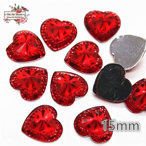 Pukido 50pcs Shiny red Heart Acrylic Rhinestone Flat Back Cabochon Art Supply Decoration Charm Craft DIY 15mm no Hole - (Color: red 50pcs)