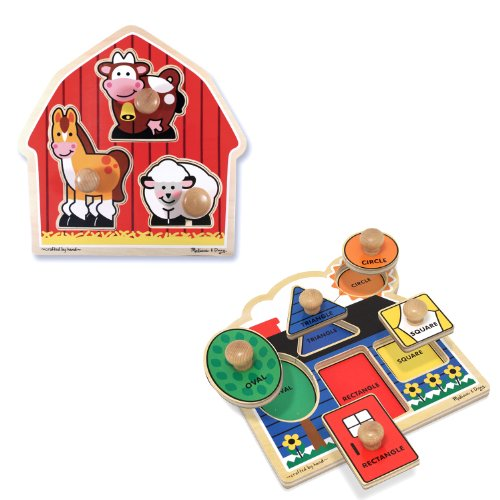 Melissa & Doug Jumbo Knob Wooden Puzzles Set - Shapes and Barn (Kids Puzzles With Knobs)