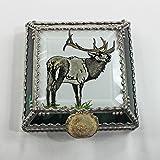 Elk, Wapiti, Stained Glass Jewelry Box, Presentation Box, Keepsake Box, Glass Jewels, Swarovski Crystals, USA Made