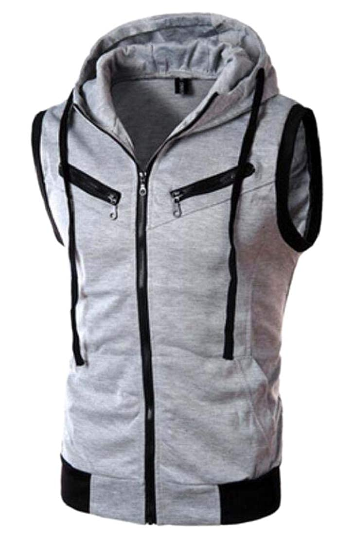 GenericMen Casual Slim Fit Sleeveless Zipper Up Hoodie T Shirt Vest Tank Tops