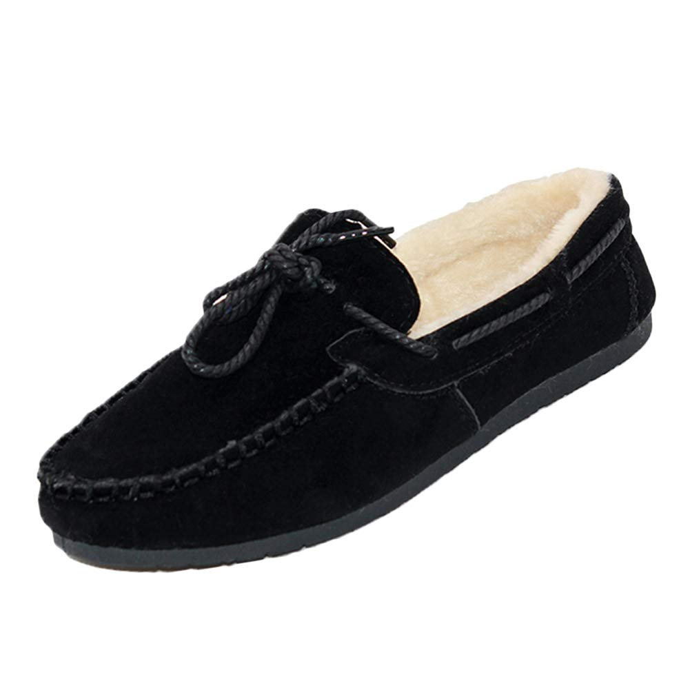 02f265e211c Tenthree Suede Leather Lined Moccasin Silpper - Fur Warm Loafer Short Boots  Flat Leisure Driving Comfort Peas Gommino Women Lazy Winter Shoes   Amazon.co.uk  ...