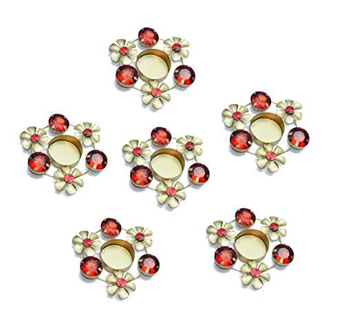 (Set of 6 pc Diwali Diya Gift/Decoration Beautiful Candle Tea Light Holder with Red Stones in Random Foil Paint. Diwali Diya Oil lamp/Christmas Decoration)