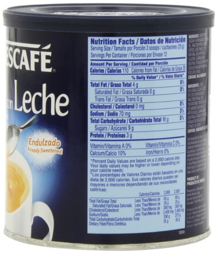 Amazon.com : Nescafe Cafe con Leche, 10.5-Ounce Canister : Instant ...
