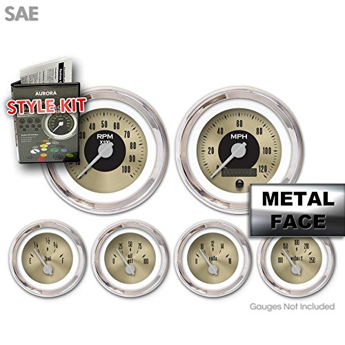 Gold Face, Silver Modern Needles, Chrome Bezels Aurora Instruments 2510 American Classic Style Kit