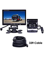 """Podofo Car Rear View Waterproof 18 IR LED Night Vision Car Reversing Backup Camera Kits 7"""" TFT LCD Monitor Vehicle Parking Assistance System for RV / Bus / Trailer / Truck / Caravan (with 33ft 4-Pin Aviation Extension Cable)"""