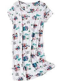 43d2d43a31d6 Women s Nightgowns Short Sleeves Cotton Sleepwear Print Sleep Shirt  XTSY108-White Car-M