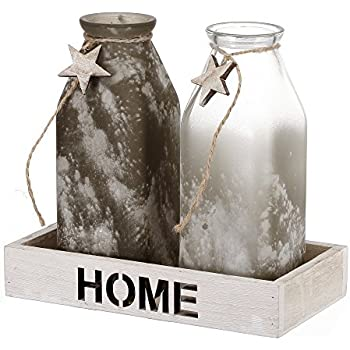 V-More Rustic Frosted Powdered Glass Milk Bottle Flower Bud Vase with Wood Tray and Star Decoration 6.5-inch Tall for Home Decor Party and Celebration (Set of 2)