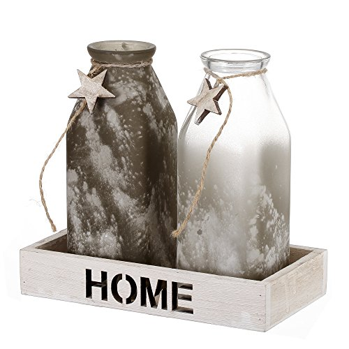 V-More Rustic Frosted Powdered Glass Milk Bottle Flower Bud Vase with Wood Tray and Star Decoration 6.5-inch Tall for Home Decor Party and Celebration (Set of 2) (Milk Vase Glass)
