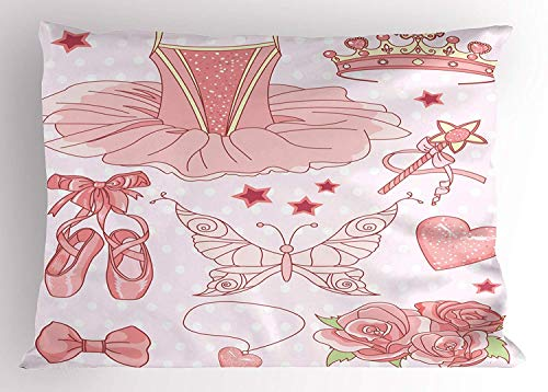 - Ustcyla Princess Pillow Sham, Fantastic Princess Ballerina Accessories Classic Costume Shoes Tiara Roses, Decorative Standard Queen Size Printed Pillowcase, 30 X 20 inches, Rose Light Pink
