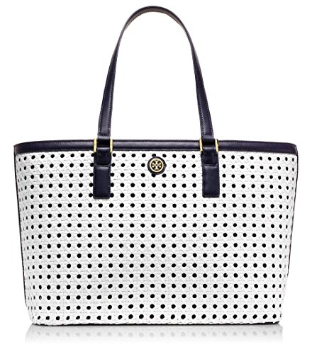 Tory Burch Robinson Basket Weave Woven Leather East West Computer Pocket Travel Tote - White / Tory Navy 11149835