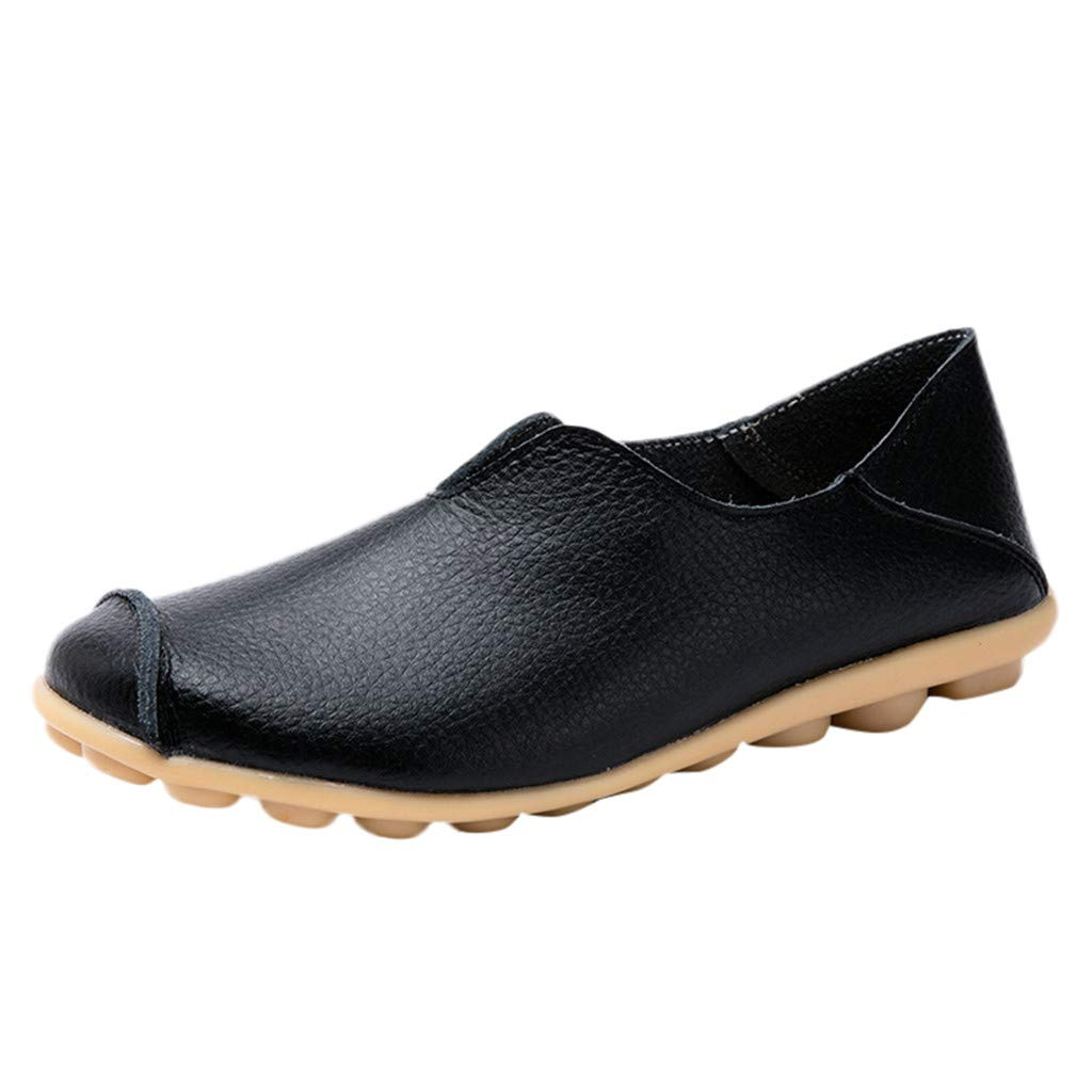 Women Flat Boat Shoes,Classic Round Toe Leather Penny Loafers Slip-On Driving Moccasins Sneaker Comfort Single Shoes Black by Hotcl_Clearance Women Sandals Shoe