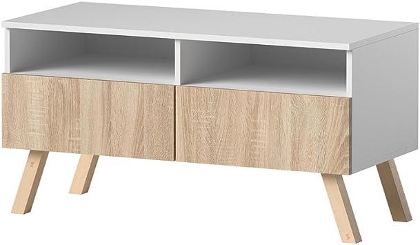 Siena Wood Mueble Tv Mesa Para Tv 100 Cm Blanco Mate Frentes En Marrón Claro Amazon Es Electrónica