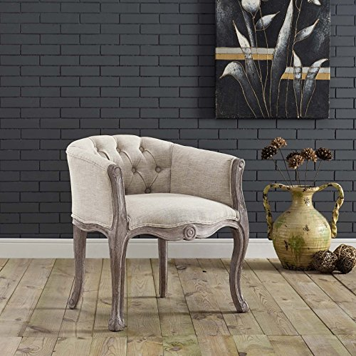 Modway Crown French Vintage Barrel Back Tufted Upholstered Fabric Kitchen and Dining Room Arm Chair in Beige - Fully Assembled (Fully Upholstered Room Chairs Dining)