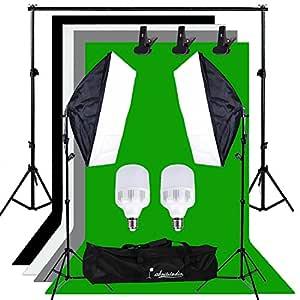 Abeststudio 500W Continuous Lighting 50 x 70cm Softbox kit and Black chromakey Green White Gray Backdrops Soft box Equipment Kit Portable Photo Studio with 2 x 25W 5500K LED Lamp Bulbs + Free Carry Bag ( 2m cable, AU plug, E27 Socket )