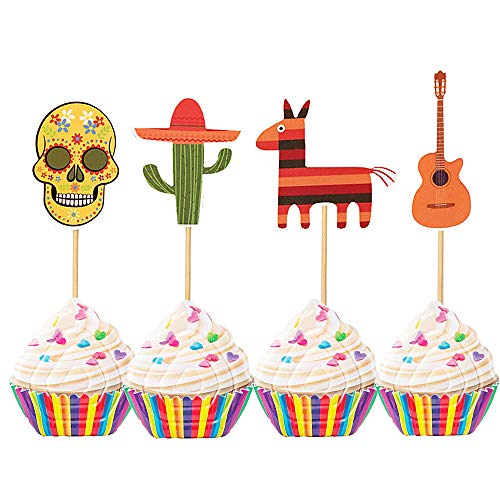 Set of 24 Mexican Day of the Dead Cupcake Topper Fiesta Cupcake Toppers Mexican Fiesta Party Cake Decoration for Mexican Themed Cactus Donkey Taco Pepper Sombrero Mustache Party Decorations -