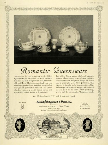 1924 Ad Josiah Wedgwood Queensware China Dishes Plates - Original Print Ad