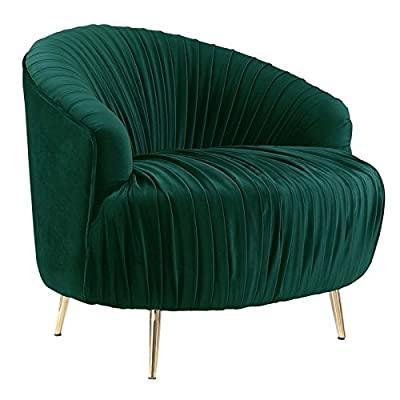 Picket House Furnishings Penelope Ruched Accent Chair in Emerald - Finish: Emerald Ruched Fabric along Back and Seat Cushions Gold, Stainless Tapered Legs - living-room-furniture, living-room, accent-chairs - 516nm0fGT%2BL. SS400  -