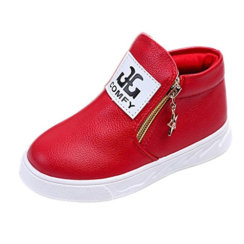 2dc1145323efe Axinke Kids Zipper Sport Ankle Boots Artificial Leather Toddlers Shoes  (Age:4T, Red)