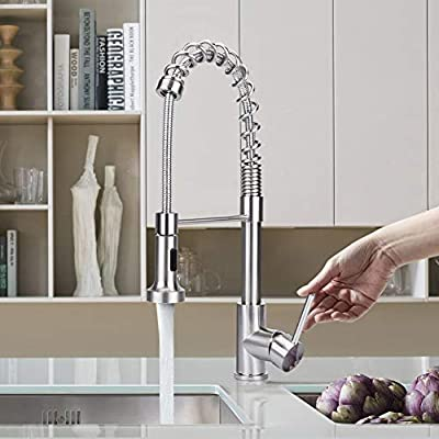 Greensen Pull out Kitchen Faucet, Lead-free Spring Brushed Nickel Single Handle Touchless Kitchen Faucet with Dual Function Pull Down Sprayer