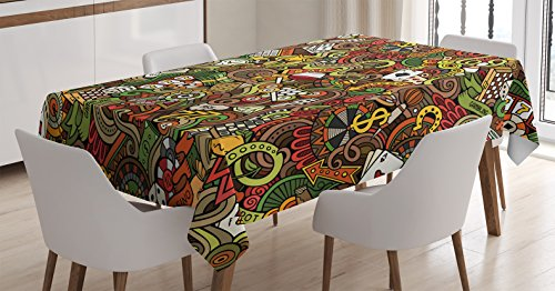 Ambesonne Casino Tablecloth, Doodles Style Artwork of Bingo and Cards Excitement Checkers King Tambourine Vegas, Dining Room Kitchen Rectangular Table Cover, 60