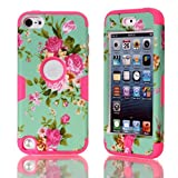 Lantier For iPod Touch 5 Case,Hybrid 3 Layers Hard Cover with Silicone Shell Inside Case Plastic TUFF Camo Triple Quakeproof Drop Resistance Protective for iPod Touch 5 5th Generation with Screen Protector and Stylus Pen Blue Flowers/Hot Pink