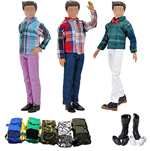 Lance Home 12pcs Essential Accessories for Ken Barbie Prince Dolls Boy Doll Random Style (3 Jackets 3 Casual Pants Clothes 3 Bags 3 Pairs Shoes)