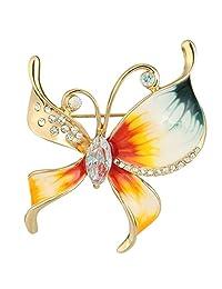 Ever Faith Austrian Crystal Cubic Zirconia Enamel Butterfly Brooch Pin Gold-Tone