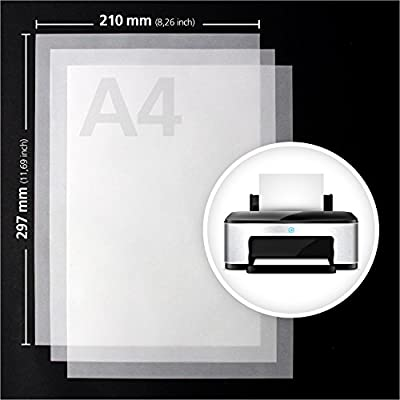 #benehacks papel transparente DIN A4, 100 hojas, calidad superior 100 gsm - papel artesanal - color blanco - imprimible: Hogar