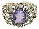 Alilang Lavender Cameo Lady Crystal Rhinestone Cuff Bracelet Bangle