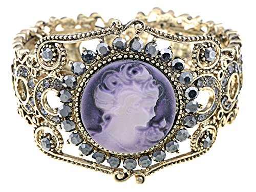 Alilang Lavender Cameo Lady Crystal Rhinestone Cuff Bracelet Bangle