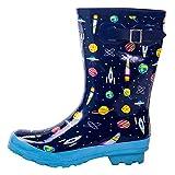 AMAWEI Kids Rain Boots for Boys Girls Baby/Toddler/Little Kids/Big Kids Rubber Garden Shoes (13, Space)