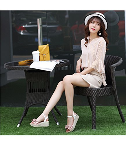 High Elegant Dream Thick Waterproof Toe Casual 37 Sandals Open Heels Ladies Cute Shoes Color Summer Size Wedge Pink Table wqycxF7COw