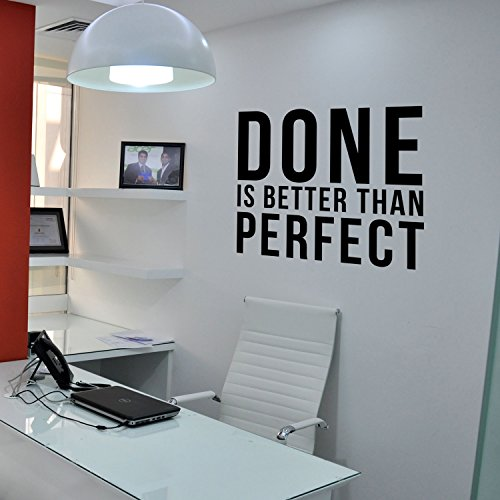 Inspirational Quotes Vinyl Wall Decal - Done is Better Than Perfect - 17'' x 20'' Home Office Workplace Motivational Art Decal Stickers by Pulse Vinyl