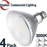 Premium Full-Glass Dimmable LED PAR38 LED Bulbs, 3000K Bright White, Weatherproof 14W (120 Watts Equivalent) LED PAR38 Light Bulbs, Flood Light, (Pack of 4)
