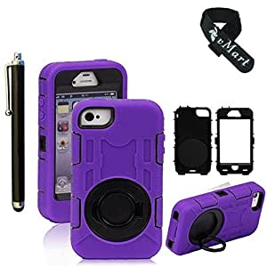 vMart Camera Appearance Design Hybrid Hard Case With Stand Case Cover For Apple iPhone 4/4s - vMart-Purple