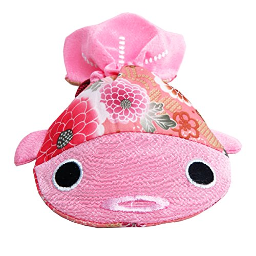 ✨ BARbee ✨ Japanese Chirimen & Kimono Print Fabric Goldfish Drawstring Pouch Coin Purse Cosmetic Jewelry Key Travel Storage Bag for women accessory with Studs Clamp Hair Clip Watches (Large, Pink)